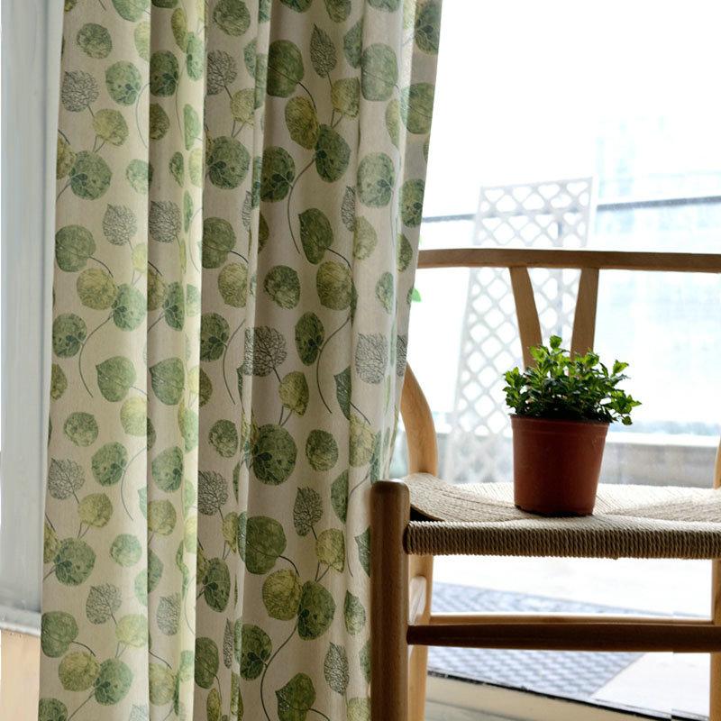 Landhaus Vorhang Grün Klein Blätter im Schlafzimmer