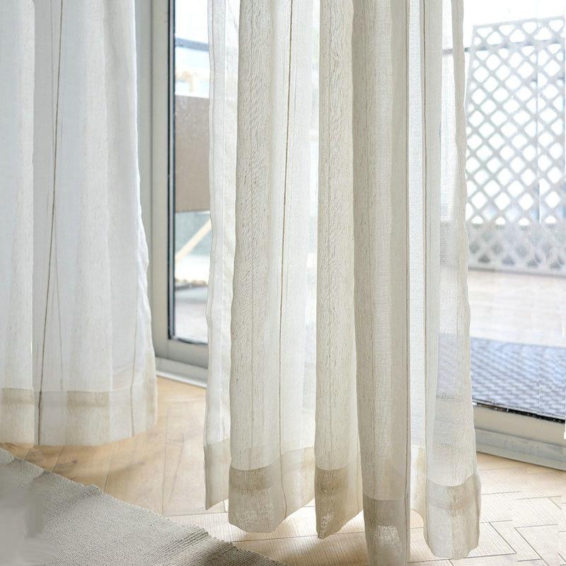 Minimalismus Gardine Streifen Design Weiß im Wohnzimmer