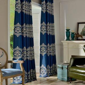 Lucxus Vorhang Blau Blumen Jacquard im Wohnzimmer