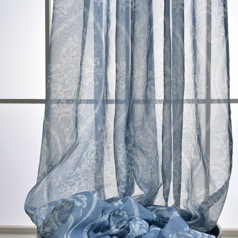 Minimalismus Gardine Blau Blumen Muster Design Im Wohnzimmer