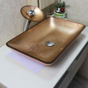 (EU Lager)Glas Waschbecken Modern Eckig mit Wasserfall Wasserhahn, Wasserablauf und Montage Ring