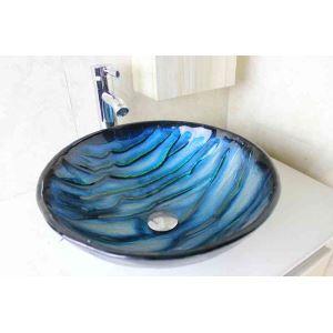 Modern Glas Waschbecken Rund Blau ohne Wasserhahn