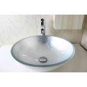 Glas Waschbecken Modern Rund Silber ohne Wasserhahn