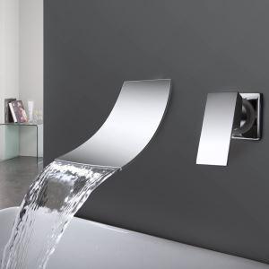 Waschtischarmatur Wasserfall Modern aus Messing Einhandmischer in Chrom