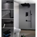 Regendusche Set Unterputz mit Wasserhahn in Schwarz