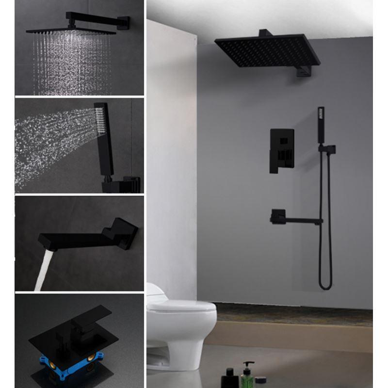 Fabulous Regendusche Set Unterputz mit Wasserhahn in Schwarz JH02