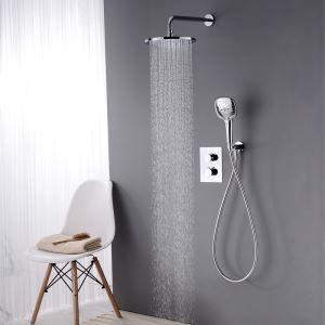 Duscharmatur Thermostat Unterputz mit Wasserhahn Modern in Chrom
