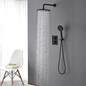 Duschsystem Thermostat Unterputz in Schwarz