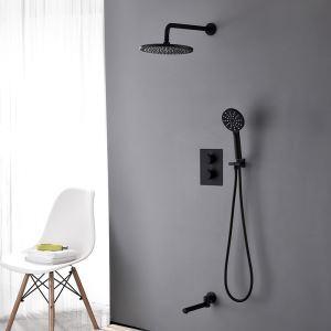 Duscharmatur Thermostat Unterputz mit Kopfbrause in Schwarz