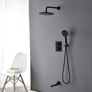 duscharmatur thermostat unterputz mit kopfbrause  schwarz