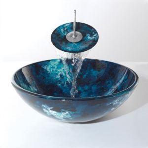 Glas Waschbecken mit Wasserfall Wasserhahn Modern Rund Blau