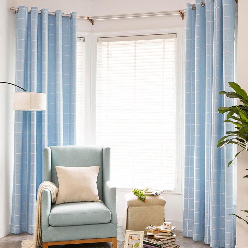 Modern Vorhang Blau Plaid Design im Wohnzimmer