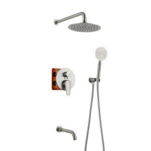 Duschsystem Unterputz Modern mit Kopfbrause Nickel Gebürstet