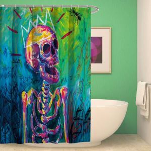 Kreativer Duschvorhang Allerheiligen lustiger Totenkopf Design
