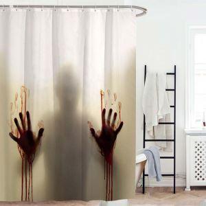 Kreativer Duschvorhang Allerheiligen schrecklicher Handabdruck von Blut