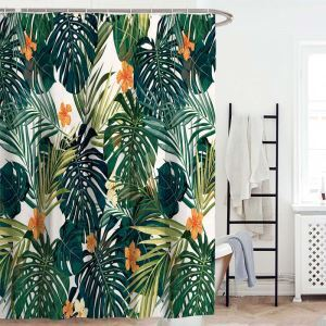 Moderner Duschvorhang mit Bananenblatt Motiv Wasserdicht und Anti-Schimmel