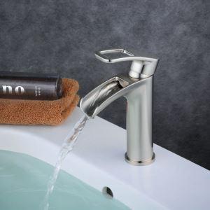 Waschtischarmatur Einhandmischer Bad in Nickel Gebürstet
