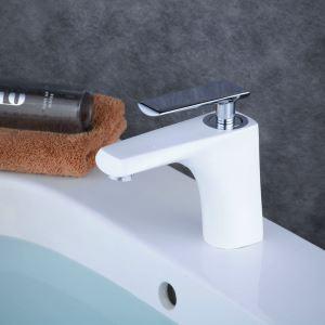 Waschtischarmatur Einhebelmischer Modern Weiß mit Chrom Griff