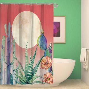Moderner Duschvorhang mit Kaktus Motiv Landhaus Stil