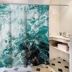 3D-Effekt Kreativer Duschvorhang von Welle Stoffdruck Muster