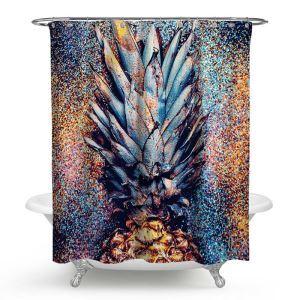 Kreativer Duschvorhang von lustiger Ananas Motiv Wasserdicht und Anti-Schimmel