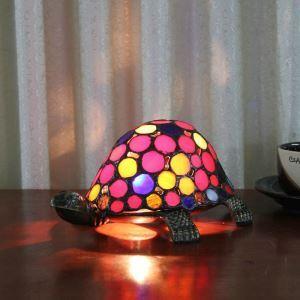 Tischlampe Tiffany Stil Schildkröte Design Bunt 1 flammig