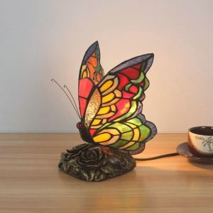 Tiffany Tischlampe Farbenfroher Schmetterling Design 1 flammig