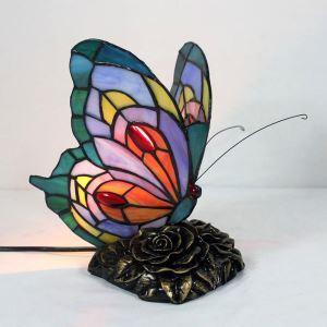 Tiffany Tischleuchte Schmetterling Design 1 flammig im Schlafzimmer