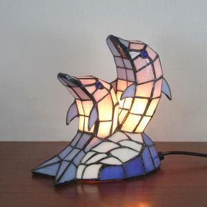 Tischlampe Tiffany Stil Delfine Gestaltet 2 flammig