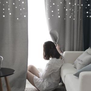 Vorhang mit hollower Sterne Muster blickdicht