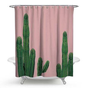 Moderner Duschvorhang von Kaktus Stoffdruck Motiv Wasserdicht und Anti-Schimmel