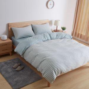 Japanische Bettwäscheset 4-teilig Streifen Design Baumwolle Minimalismus