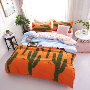 Moderne Bettwäscheset orange Kaktus Muster für Kinder Cartoon Stil