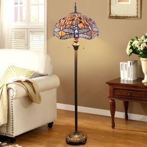 Tiffany Stehleuchte Libelle Design 2 flammig im Wohnzimmer