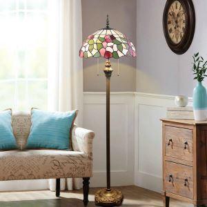 Stehlampe Tiffany Stil Bunte Blumen Design 2 flammig