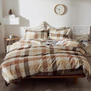 Retro-Bettwäscheset Baumwolle mit breitem Streifen 4-teilig