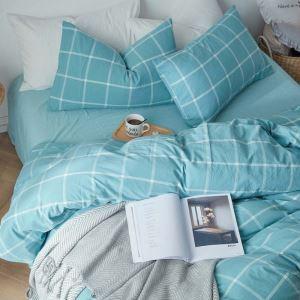 Bettwäscheset Baumwolle mit Karo Muster 4-teilig Landhaus Stil