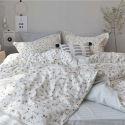Bettwäscheset 4-teilig Kleine Blumen Design Baumwolle Landhausstil