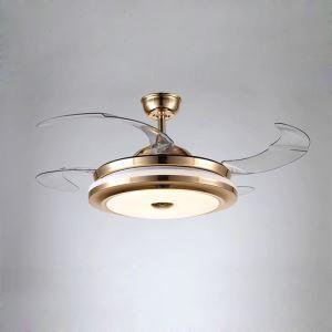 Deckenventilator in Gold mit Led Beleuchtung ein- und ausklappbaren Flügelblättern