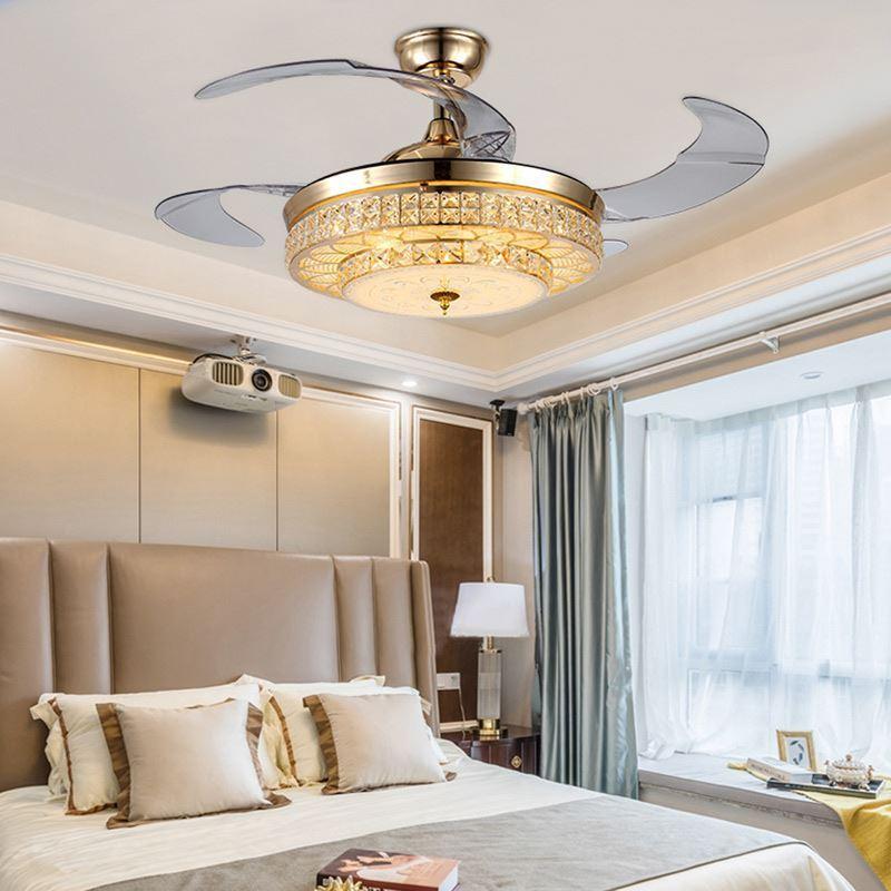 deckenventilator mit led lampe in gold mit fernbedienung. Black Bedroom Furniture Sets. Home Design Ideas