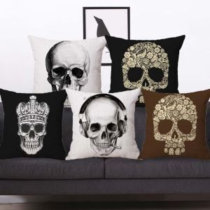 Lustige Kissenhülle Totenkopf Design Halloween Thema