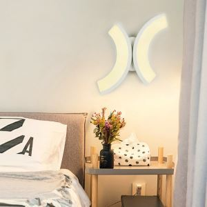Led Wandleuchte Kunstvoll in Weiß für Wohnzimmer