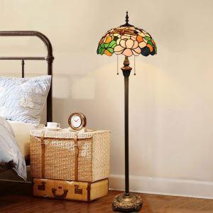 Stehlampe Libelle und Blumenmalerei 2 flammig