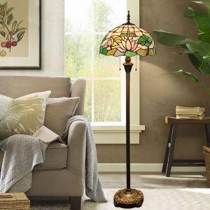 Tiffany Stehleuchte Lotosblume Design 2 flammig im Schlafzimmer