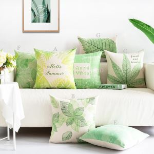 Kissenhülle Grüne Pflanze Design aus Leinen