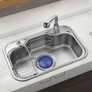 Moderne Küchenspüle Edelstahl Eckig in Chrom Matt