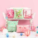 Romantik Kissnbezug Flamingo Thema aus Leinen