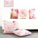 Schöne Kissenhülle Romantik Blumen Muster aus Leinen