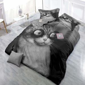 Bettwäsche 4er-Set 3D Katze Motiv aus Polyester Minimalismus