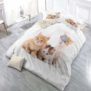 Minimalismus Bettwäsche 4er-Set 3D Katze Motiv aus Polyester